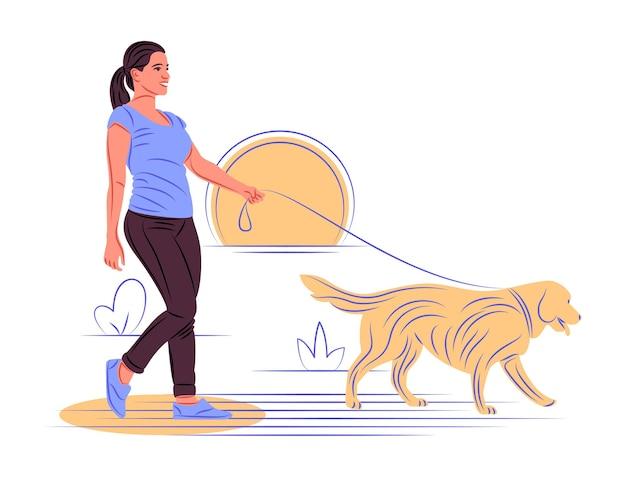 Vektorhund im schatten der scharfen linienart