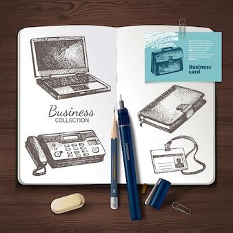 Vektoridentität auf hölzernen hintergrund eingestellt. marke, visualisierung, unternehmensgeschäft. designvorlage und handgezeichnete skizzengeschäftsillustrationen für grafikdesigner-präsentationen und -portfolios