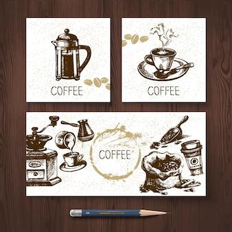 Vektoridentitätssatz von kaffeefahnen. menüdesignvorlagen mit handgezeichneten skizzenillustrationen