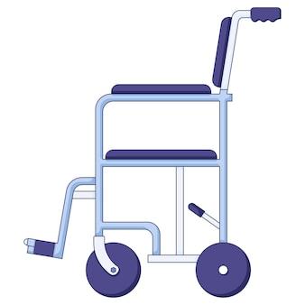 Vektorikone des blauen krankenhausrollstuhls der hilfemobilität in einem flachen stil lokalisiert auf einem weißen hintergrund