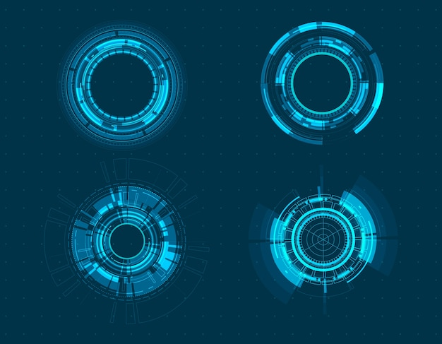 Vektorikone gesetztes technologiekreisdesign