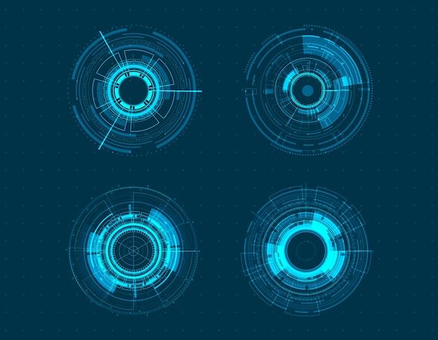 Vektorikone gesetztes technologiekreisdesign.