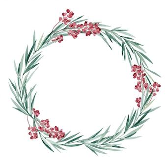Vektorillustration, aquarell-weihnachtskranz mit eukalyptus