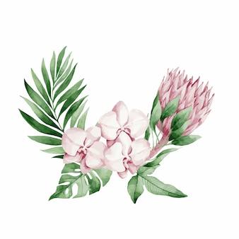 Vektorillustration, aquarellstrauß mit tropischen blättern und blumen, weiße orchidee, rosa rose und weißes anthurium, monstera und palmblätter.