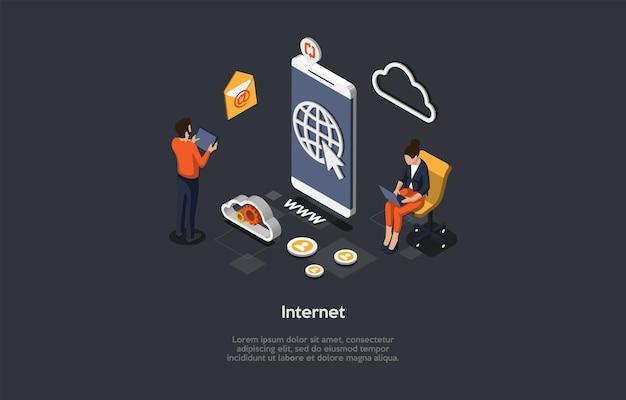 Vektorillustration auf dunklem hintergrund. isometrische zusammensetzung auf internet-konzept. cartoon-3d-stil. online-websites, programme und anwendungen, aktive benutzer, quellen und vorteile moderner technologien