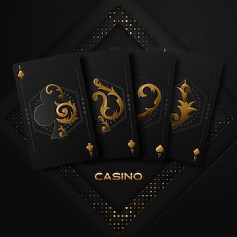 Vektorillustration auf einem kasinothema mit pokersymbolen und pokerkarten auf dunklem hintergrund.