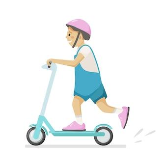Vektorillustration auf weißem hintergrund eines jungen, der einen roller in einem helm reitet.
