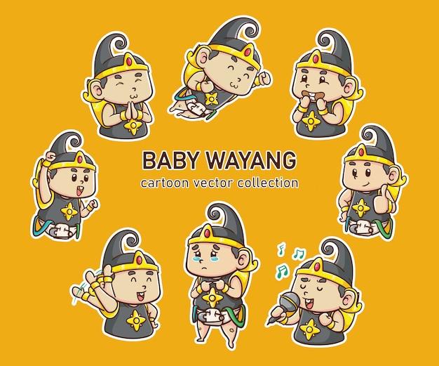 Vektorillustration baby gatotkaca fliege, indonesischer held kawaii & lustiger charakter, karikaturstil