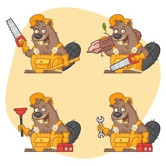 Vektorillustration, beaver master in verschiedenen versionen teil 1, format eps 10