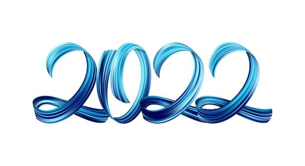 Vektorillustration: blaue pinselstrich-acrylfarbe, die kalligraphie von 2022 auf weißem hintergrund beschriftet. frohes neues jahr
