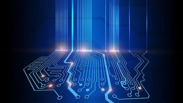 Vektorillustration der abstrakten elektrischen platine, schaltung. abstrakte wissenschaft, futuristisch, web, netzwerkkonzept