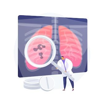 Vektorillustration der abstrakten konzeptinfektionen der unteren atemwege. lungeninfektionskrankheit, prävention von lungenentzündung, symptome und diagnostik, abstrakte metapher für akute infektionen der unteren atemwege.