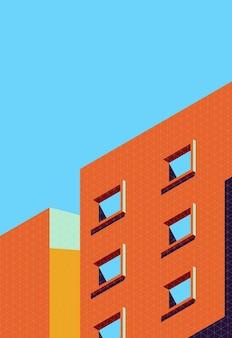 Vektorillustration der architekturabdeckung im minimalen stil mit retro-farbe