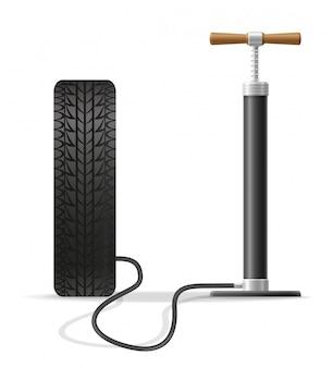 Vektorillustration der autohandluftpumpe auf lager