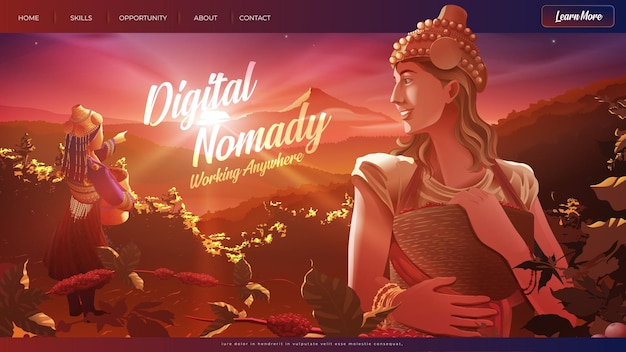 Vektorillustration der digitalen nomade der westlichen dame, die einer stammesdame hilft