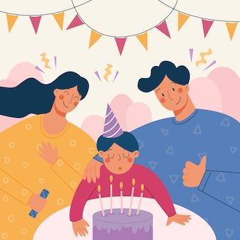 Vektorillustration der familie, die geburtstag ihres sohnes zusammen feiert.