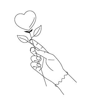 Vektorillustration der fantasieliebesblume in der frauenhand.