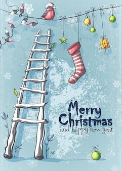 Vektorillustration der frohen weihnachten und des guten rutsch ins neue jahr
