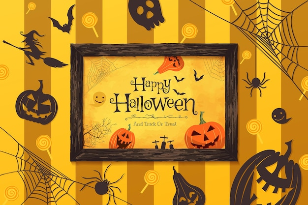 Vektorillustration der glücklichen halloween-konzeptdekoration und -rahmens.