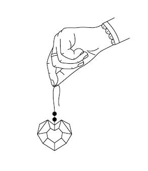 Vektorillustration der hand der frau, die herzform brillant hält.