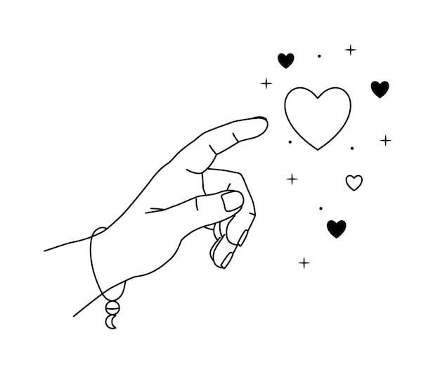 Vektorillustration der hand greift nach dem herzen