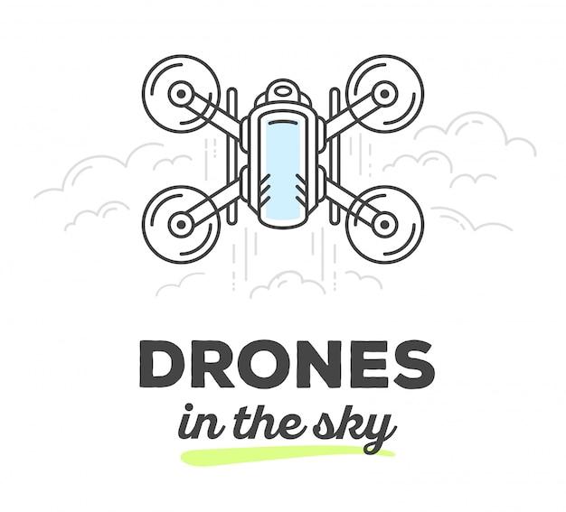 Vektorillustration der kreativen drohne der draufsicht mit text auf weißem hintergrund. drohne am himmel
