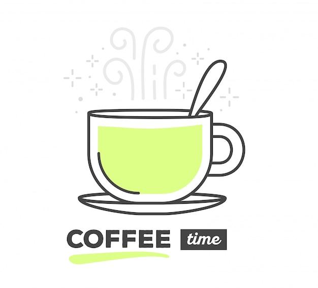 Vektorillustration der kreativen tasse kaffee mit löffel mit text auf weißem hintergrund. kaffeezeit