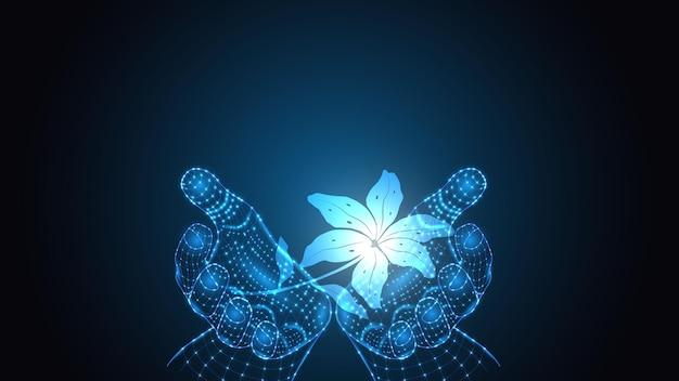 Vektorillustration der künstlichen intelligenz, die eine pflanze in der hand hält. wissenschaft, futuristisch, web, netzwerkkonzept, kommunikation, hochtechnologie. eps 10
