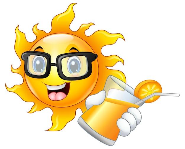 Vektorillustration der lächelnden sonne orangensaft zeigend
