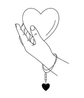 Vektorillustration der menschlichen hand, die großes herz hält.