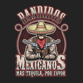 Vektorillustration der mexikanischen banditendruckvorlage. mann mit einer waffe in den händen in sombrero mit text.