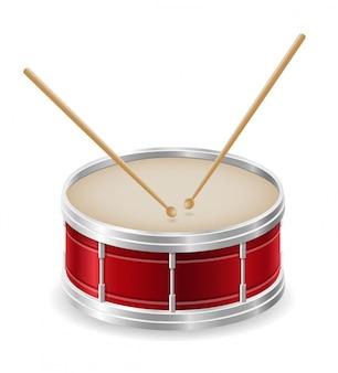 Vektorillustration der musikinstrumente der trommel auf lager