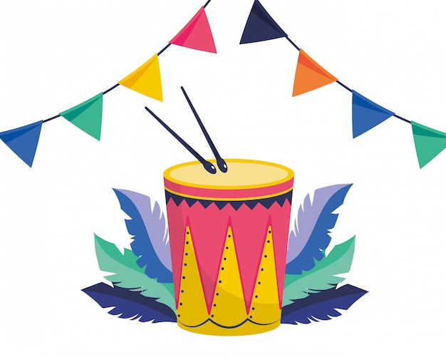 Vektorillustration der musikinstrumente der trommel