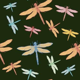 Vektorillustration der nahtlosen musterhand der libelle gezeichnete