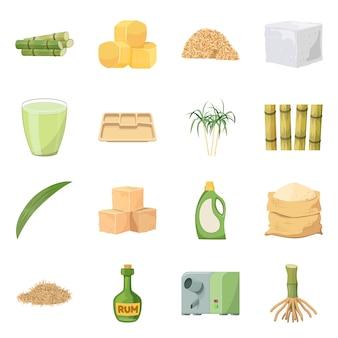Vektorillustration der natürlichen und produktionsikone. satz des natürlichen und organischen aktiensymbols für netz.