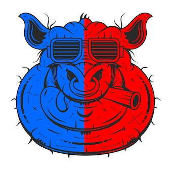 Vektorillustration der netten schweinkarikatur lokalisiert auf weiß