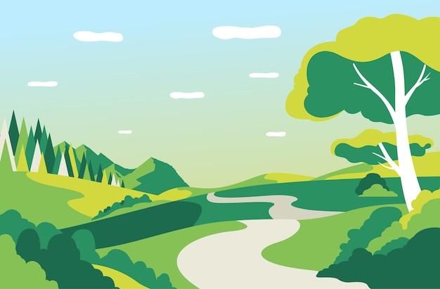 Vektorillustration der schönen landschaft mit straße, bäumen und blauem himmel