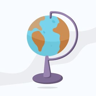 Vektorillustration der schulgegenstände für geographie. handgezeichnete farbskizze des globus, karte.