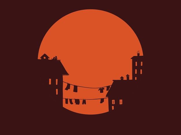 Vektorillustration der sonnenuntergangstadt