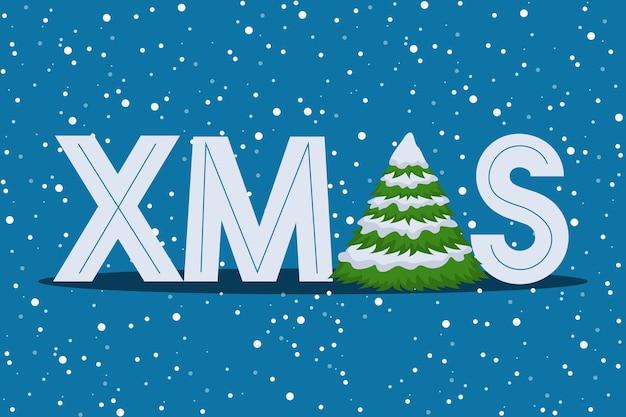 Vektorillustration der weihnachtsgrußkarte, weihnachten mit tannenbaum