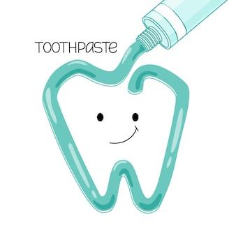 Vektorillustration der zahnpasta, die aus einer tube herausgedrückt wird. ein lächelnder zahn. isolierter hintergrund.