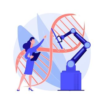 Vektorillustration des abstrakten bioethikkonzepts. medizinische ethik, biologische forschung, dna, genetische biotechnologie, biotech-forscher, kriminalarzt, abstrakte metapher für laborexperimente.