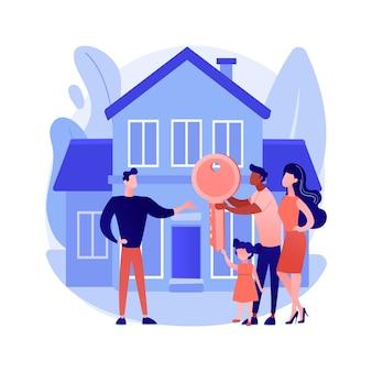 Vektorillustration des abstrakten immobilienkonzepts. immobilienagentur, wohn-, industrie-, gewerbeimmobilienmarkt, investitionsportfolio, wohneigentum, abstrakte metapher des immobilienwerts.