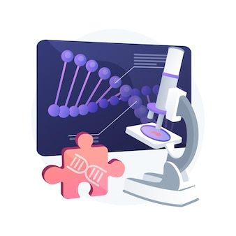 Vektorillustration des abstrakten konzeptes der biotechnologie. biowissenschaften, biotech-unternehmen, bioengineering-industrie, genom-ingenieur, biotechnologie-geräte, abstrakte metapher für laborforschung.