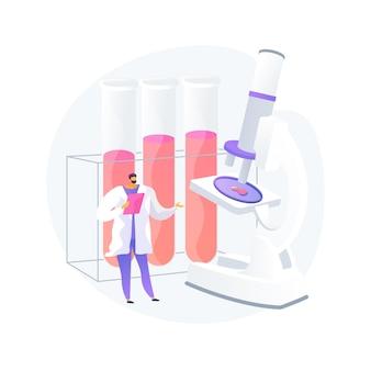 Vektorillustration des abstrakten konzeptes der blutprüfung. medizinische tests, mikrobiologischer laborservice, labortest, blutuntersuchung, körperflüssigkeitsuntersuchung, abstrakte metapher für gesundheitsproblemdiagnostik.