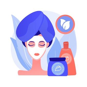 Vektorillustration des abstrakten konzeptes der organischen kosmetik. bio-körperpflegekosmetik, make-up-produkte, natürliche saubere inhaltsstoffe, schönheitsindustrie, hautbehandlung, parabenfreie abstrakte metapher.