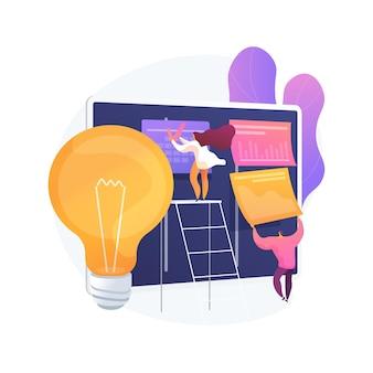 Vektorillustration des abstrakten konzeptes der projektplanung. projektplanerstellung, zeitplanverwaltung, geschäftsanalyse, vision und umfang, zeitplan- und zeitrahmenschätzung, abstrakte metapher dokumentieren.