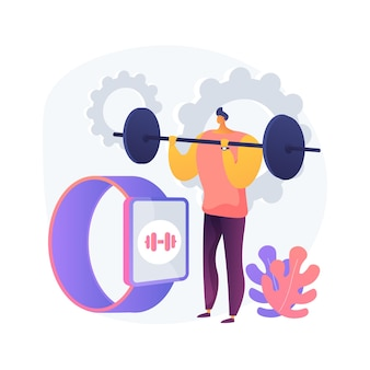 Vektorillustration des abstrakten konzeptes des intelligenten trainings. smart training online-programme und tools, neue fitness-technologie, fitness-coaching-anwendung, verbesserung der gesundheit, fettabbau, toning abstrakte metapher.