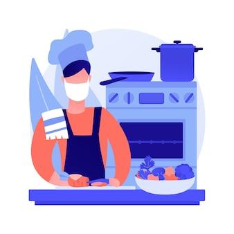 Vektorillustration des abstrakten konzeptes des quarantänekochens. familienrezept, zu hause kochen, hausgemachtes essen, kulinarische fähigkeiten, soziale distanzierung, stressabbau, video-tutorial abstrakte metapher ansehen.