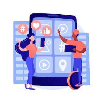 Vektorillustration des abstrakten konzepts der generation z. hyper-vernetzte welt, kindheit mit tablet, mobilgerät, social media, mobile banking, personal finance, abstrakte metapher für junge menschen.